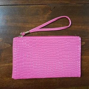 Handbags - Pink faux crock wristlet